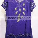 Women's short laced sleeve viscosa blouse V-neck with silver leaves embroidered purple