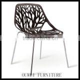 Black shell chair with metal leg