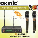 OK-2000 Dual Channels/UHF PLL 32/99 channels,True Diversity Recever, Wireless microphone