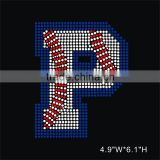Beautiful Rhinestone Iron On Transfer baseball letter P Design