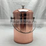 1 gallon copper plated Kitchen Stainless Steel Compost Bin, warm compost pail with lid including two charcoal filter                                                                         Quality Choice