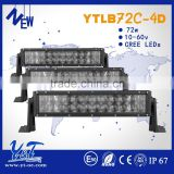 high power 4D Optic Lens led light bar 36inch 13.5inch 72w car led light bars for offroad 4WD 4x4