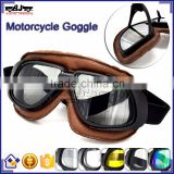 BJ-GT-008 Super Light Weight Brown Leather Tea Lens Motocross Goggles Custom