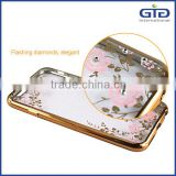 [GGIT] Cheap Price Mobile Phone Ultra Transparent TPU Case with Luxury Diamond 24kt Gold Crystal Housing Back Cover for iPhone 6