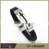 Black cross stainless steel mens leather cuff bracelet