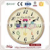 Stylish simplicity series decorative owls public design wooden wall clock for flower shop