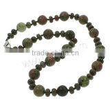 Ruby in Zoisite Necklace, zinc alloy lobster clasp, Round, natural, 8x5mm, 12mm, Length:Approx 18 Inch, Sold By Strand