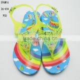 Sweet and lovely cartoon printing PCU ladies clip-toe sandals
