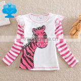 2-6y (T2601) ready to ship wholesale toddler clothes girls print t shirts stripe animal blouses baby clothes