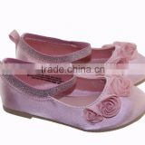shinning kids soft ballet shoes with pink flower