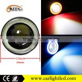 2.5 inch universal rgb led super lamp fog angel eyes lighting led projector lens with cob halo rings evil eyes