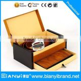 Promotion Brown Leather Gift Set of Gents Wallet & Gents belt for New Year gift