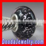 Sand Black murano glass for silver European bracelet bead charm