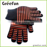 Aramid Fiber BBQ Mitts , 100% Cotton Lining Covering Grilling Gloves , Campsite Heat Resistant BBQ Gloves , Microwave Oven Mitt