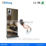 Aluminum silver edge 42inch Magic mirror floor stand digital signage with with infrared sensor