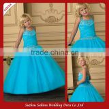 Fl84 Organza Spaghetti Strap Sequins Appliqued A-Line Tiered Pleats Ruching Floor Length Flower Girl Dress