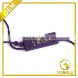 custom own brand purple metallic plastic string seal tag