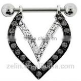 body piercing jewelry heart shape crystal dangle nipple ring