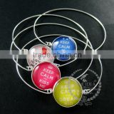 65mm diameter one end open keep calm series 2 candy color collage glass cabochon silver wiring fashion bangle bracelet 6420003