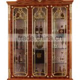 Hand Carving Wooden Display Cabinet,Luxury Decorative 4-Door Wine Cabinet, Antique Gold Painting Storage Cabinet For Living Room