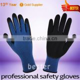 High Performance 15G Bamboo Fiber and Cotton Mixed Knitted Working Gloves With Black Foam Latex coating At Great Low Price