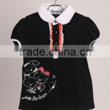 cute kids girls round collar black cotton short sleeve t shirt