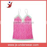 Sexy Ladies Pink Aminal Print with White Lace Trim Camisole Sleepwear Pajamas, style JS-147,Accept OEM