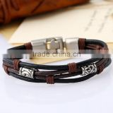 Handmade accessories cow leather unisex fashion braid bracelet