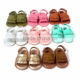 2016 New Summer Candy Color Baby Tassel Baby Leather Sandal Soft Sole Infant Girls and Boys Shoes