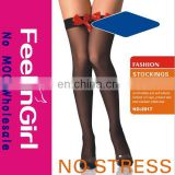 Fashion Black Over Knee Sexy Red Bow Women Stocking