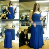 Free shipping!A line sweetheart pleats long chiffon blue bridesmaid dress cheap JBD023