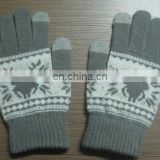 Touch promotion cheap knitted jacquard acrylic touchscreen gloves