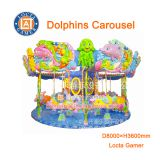Zhongshan amusement park equipment outdoor playground merry go round, 12 seat dolphins carousel hot sale, Marine theme