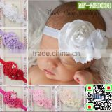 Wholesale Ribbon baby flower handmade hair accessories Top hot-sales mixed color baby ribbon headband kids hair band MY-AB0001