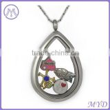 Stainless Steel Gray Oval Glass Memory Locket Pendant Necklace Wholesale