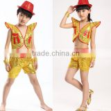 Latest 2016 Fashion and shiny latin Jazz dance costume with vest Hip-hop arabic dance performance costume for boys and girls