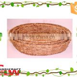 Wicker crafts simple oval corn husk food seed egg holder tray with handle                                                                         Quality Choice