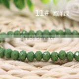 Solid Seagreen 2mm to 12mm Excellent Quality Wholesales Loose Jade Crystal Facted Roundelles Glass Beads for Jewelry Cheapest