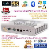 Fanless Industrial Mini PC Dual Nics Gigabit Lan Thin Clients Dual HDMIport Intel HD5500 4K HTPC Gaming Computer Alloy Case 2COM
