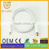 Client custom gold plated hdmi to mini dp adapter cable with high speed data transmission