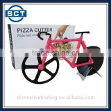 Bicycle Pizza Cutter Wheels Kitchen & Dinning Stainless Steel Wheels Cutter Tool (Black/Pink)