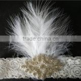 New Design Rhinestone Crown Applique With Feather Lace Headband For Babies