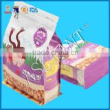 matte printing stand up coffee bag/flat box tea bag/square block bottom aluminum foil coffee/tea bag with zipper