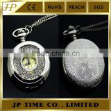 Pocket Watch Steel Chain Pendant Mens Skeleton custom Quartz Antique pocket watches necklace