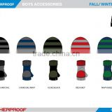 winter boys customized Acrylic Jacquard Knitted Gloves Hat 2-pcs Set