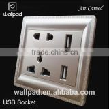 New Arrival Wallpad PC110~250V Electrical Double Universal Wall Socket with Switch Usb Charger Port USB Power Wall Light Socket