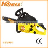 High quailty gasoline chainsaw machine 3800 with 16 inch guide bar and oregon/chinese chain