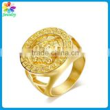 Custom pure gold plated jewelry steel ring titanium stainless steel polished man signet ring