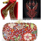 2016 crystal clutch bag for ladies with mathing fashion jewelry set and high heel shoes