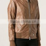 new product brown sheepskin women's pilot bomber leather jacket oem service